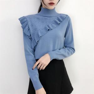 2019 модные весенне-осенние женские вязаные свитера с длинным рукавом, однотонный джемпер с высоким воротником, тонкий вязаный пуловер с рюша...