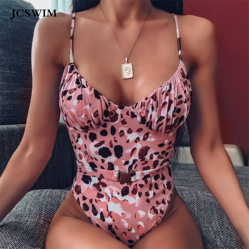 JCSWIM Leopard Brazilian <font><b>Swimsuit</b></font> <font><b>Women</b></font> <font><b>Sexy</b></font> <font><b>One</b></font> <font><b>Piece</b></font> Bikini Mujer <font><b>2019</b></font> Push Up Summer <font><b>Swimwear</b></font> Female Bathing Suit With Belt image