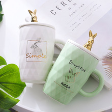 Golden Rabbit Beautiful Ceramic Mug Cup with Lid Tea Milk Coffee Mug Home Office Drinkware Girls Waterware Gift good morning cute ceramic mug with lid tea milk coffee mug cup home school kids drinkware waterware gift