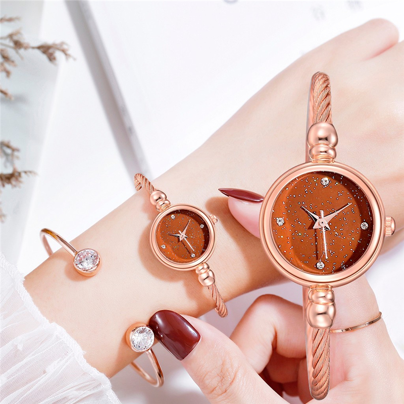 Fashion Women Stainless Steel Quartz Watch Simple Rhinestone Star Inlaid Ladies Watches Free Shipping Montre а quartz femme