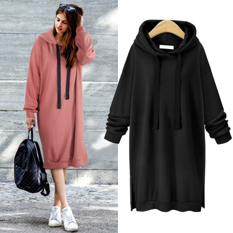 Hoody Autumn Winter Hoodie Women Long Hoodies Dress Sweatshirt For Women Hooded Hoodies With Zipper Thick Warm Hoodies Women's