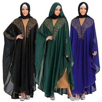 Muslim Women Open Kimono Abaya Kaftan Farasha Maxi Dress Robes Hooded Jilbab Arab Oman Bangladesh Gown Loose Caftan Dress Party