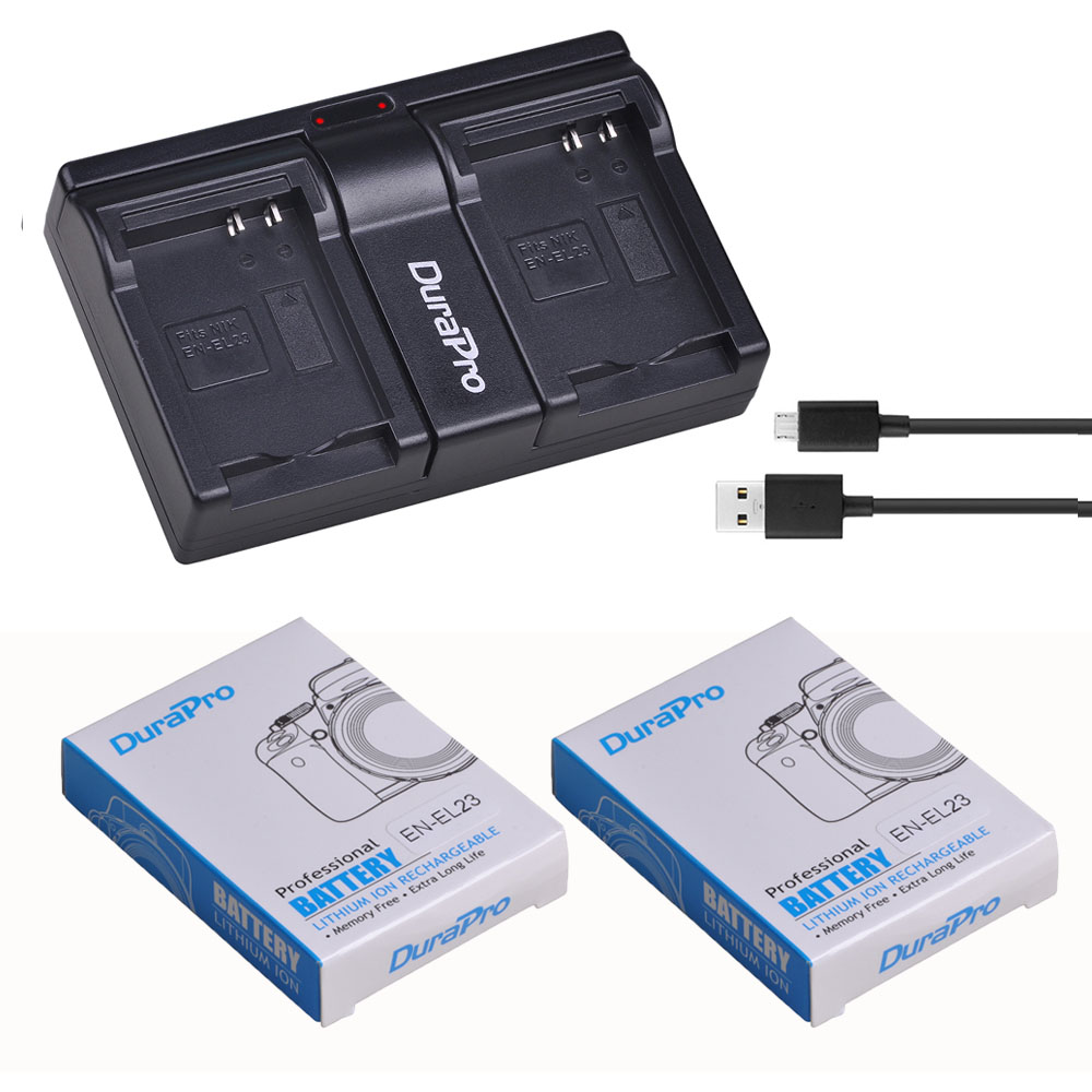 3.8V 1850mAh EN-EL23 Rechargeable Li-ion Battery + USB Dual Charger Kit For Nikon COOLPIX P900 P610 P600 B700 Digital Camera