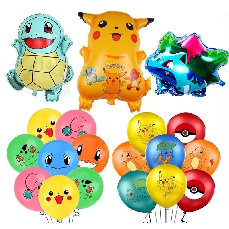 10 pçs pacote de balões de látex pokemon conjunto pikachu figura cleffa pikachu bulbasaur squirtle bolso monstro folha ballon para crianças festa