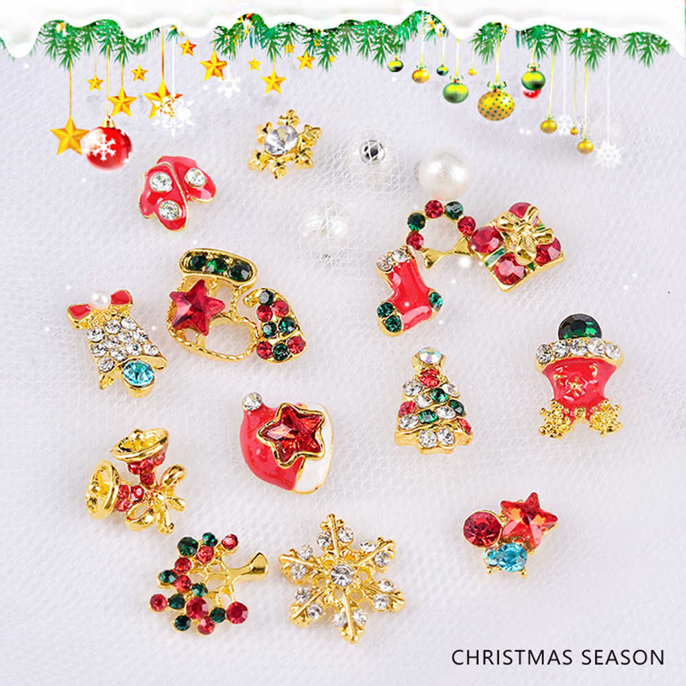 24 stijlen Kerstboom sok sneeuwvlok Nail Art Decoraties Lichtmetalen Metal DIY 3D Nail Festivals Steentjes Accessoires Gereedschap