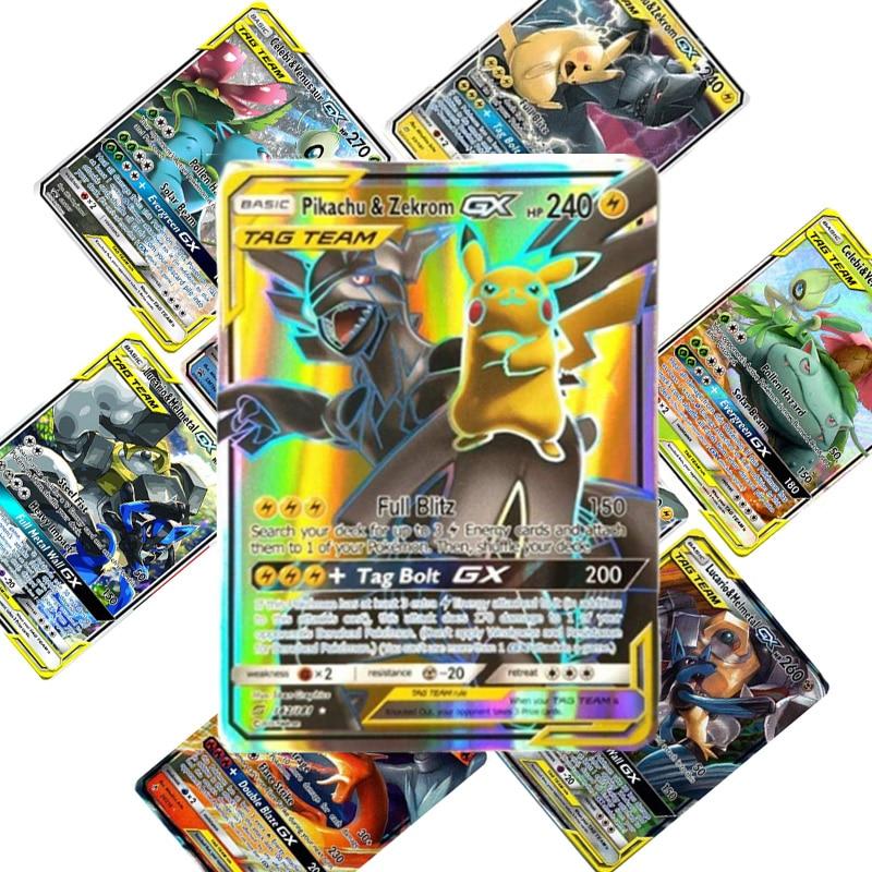 TOMY 200 PCS Pokemon TAG TEAM Card Lot Featuring 80 Tag Team 20 Mega 20 Ultra Beast Gx