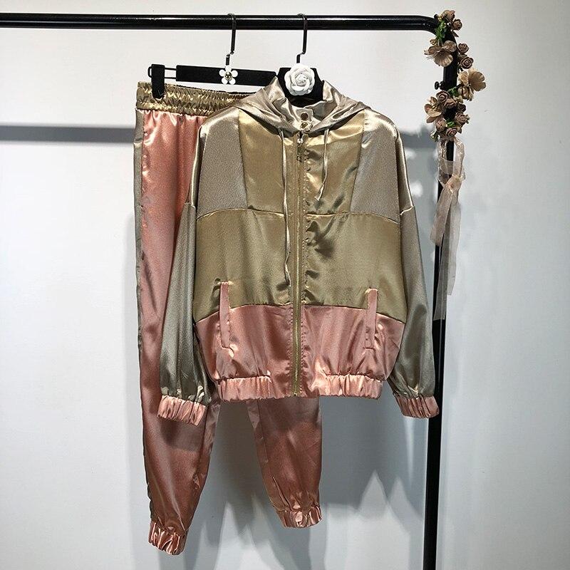GOPLUS Winter Casual Trousers Suit Women's Tracksuit Sports Suit Patchwork Satin Jacket Coat With Hood Elastic Waist Long Pants