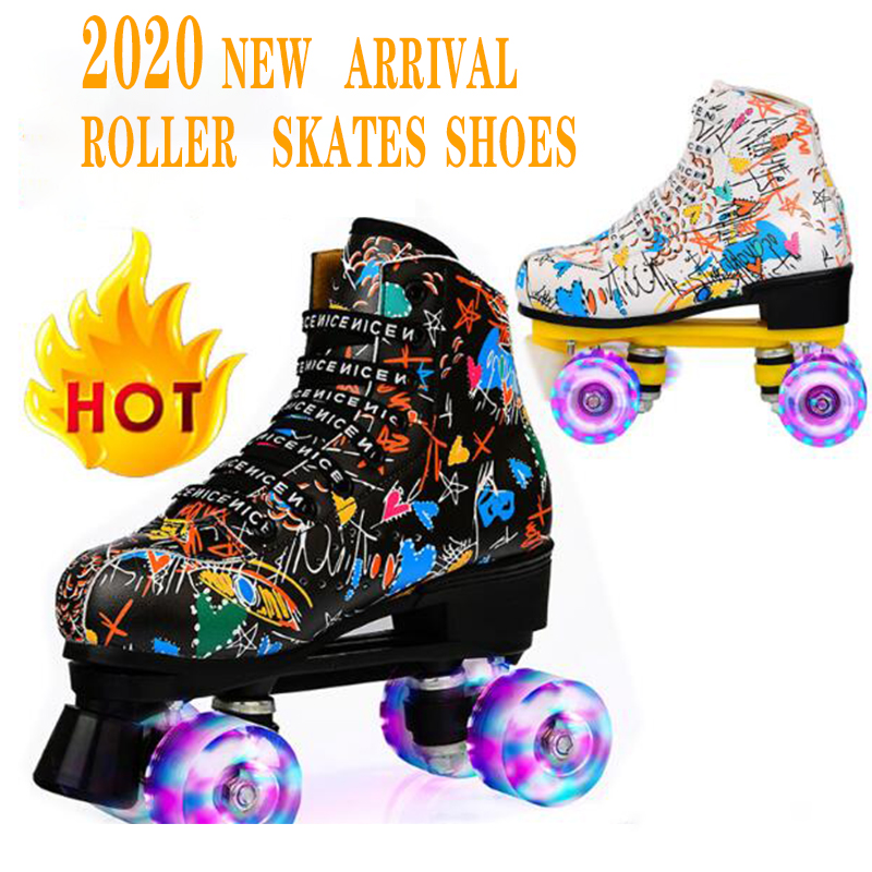 Skates Adult Double Row Roller Skates Adult Roller Skates Four-Wheel Flash Skates Men and Women Beginners Patines Shoes