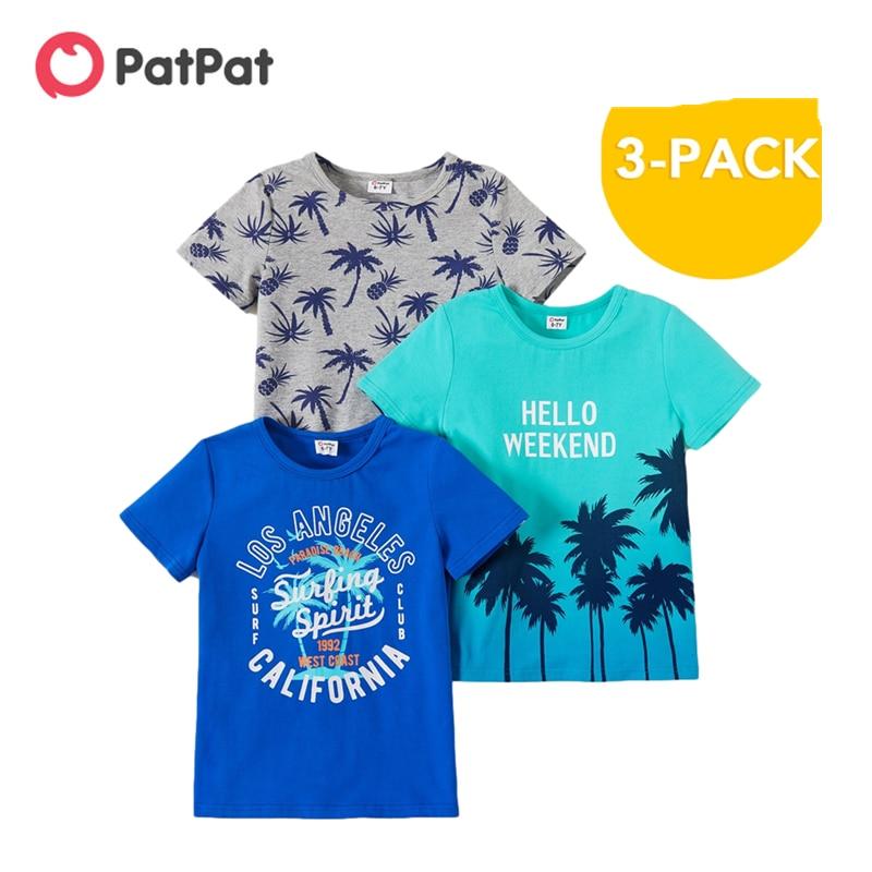 Новое поступление 2021, летняя детская футболка из 3 предметов PatPat с кокосовым деревом, комплект из короткой футболки для мальчиков, детская одежда, топы|Футболки| | АлиЭкспресс