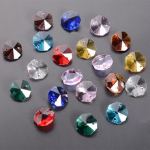 100pcs Color Crystal Octagon Beads 2 Holes Chandelier Parts Garland Strands Home Wedding Suncatcher  Decor Glass Octagonal Beads free shipping top quality customized crystal glass beads garland strands diy crystal curtain for home decoration 22 1 2m lot