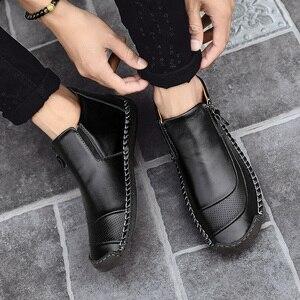 Image 5 - Fhlyiy חדש לגמרי עור קרסול נעלי גברים נעליים יומיומיות חיצוני קטיפה חם פיצול עור נעלי סתיו החלקה zapatos דה Hombre