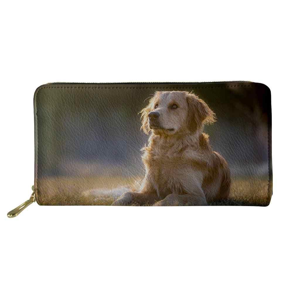 Whereisart mulheres carteiras golden retriever telefone pocker titular do cartão saco de dinheiro animais do cão carteira portefeuille carte de crédito