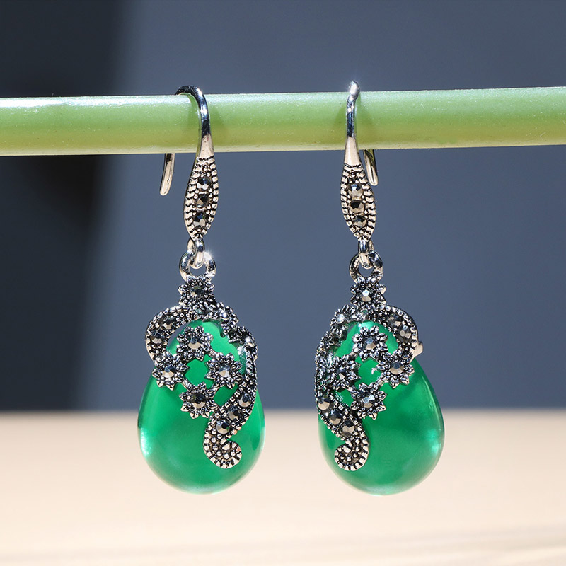 H2630988bb5fa440da6949ddf1460cbf9c - Cellacity Vintage Silver 925 Jewelry Water Drop Shaped Gemstones Earrings for Women Emerald Ruby Ear drops Temperament Party