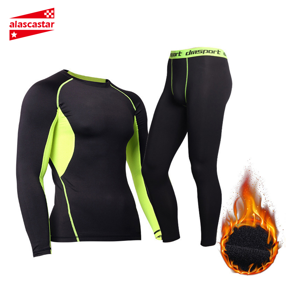 New Men Fleece Thermal Underwear Outdoor Sport Motorcycle Skiing Winter Warm Base Layers Tight Long Johns Tops & Pants Set