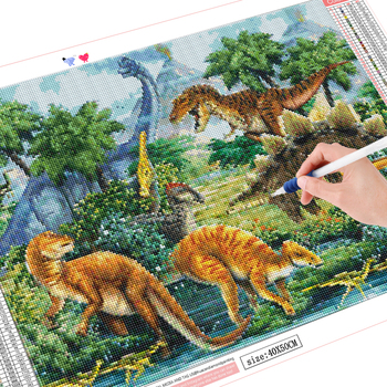 HUACAN 5d Winter Diamond Painting Mosaic Dinosaur Full Square Drill Diamond Embroidery Picture Of Rhinestones