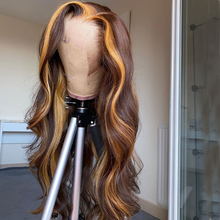 Human-Hair-Wigs Highlight Lace-Part Omber Honey-Color Brazilian