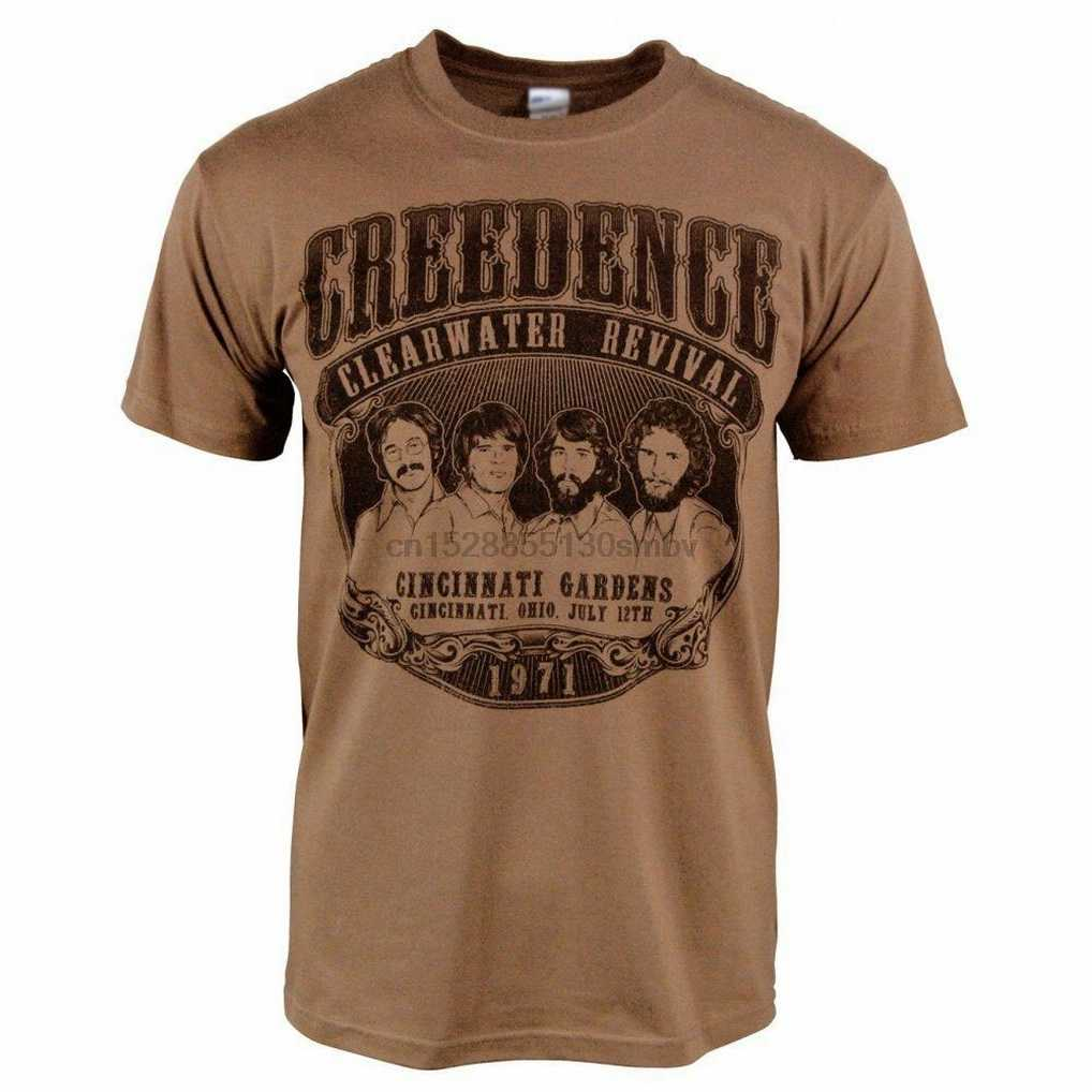 Camiseta retro dos homens creedence clearwater revival 1971 rock brown ccr novo impresso t-shirt plus size