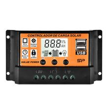10A/20A/30A/100A Solar Charge Controller Solar Panel Controller with Dual USB Port 12V/24V MPPT/PWM Auto Paremeter Adjustable