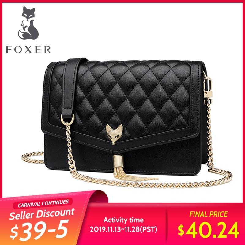 FOXER Brand Female Diamond Lattice Evening Bag Women Chain Strap Luxury Messenger Bag Quality Leather Ladies' Small Flap Bag