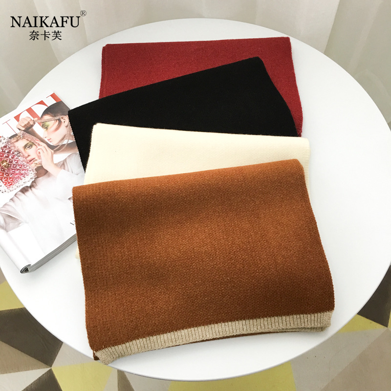 Nye Kafu Autumn And Winter Korean-style Men And Women Students Solid Color Wool Scarf Thick Warm Versatile Knitted Shawl Wholesa