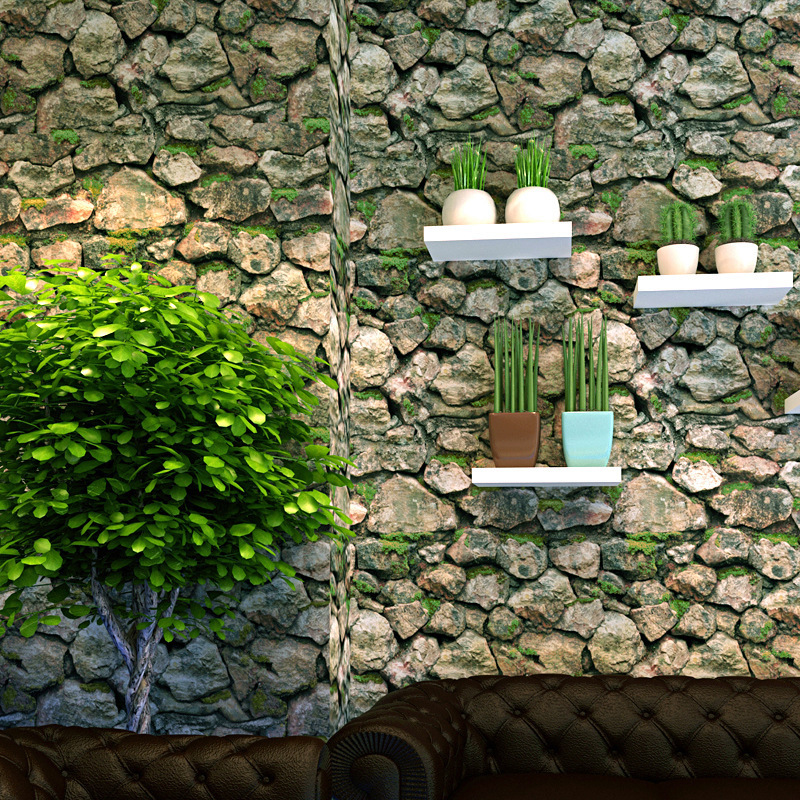 Chinese Style Stereo 3D Retro Vintage Culture Stones Stone Pattern Rock Wallpaper Restaurant Coffee Shop Wall Wallpaper