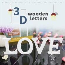 1 шт. белые деревянные буквы Английский алфавит слово персонализированное Имя Дизайн Искусство ремесло свободно стоящее сердце форма Свадьба домашний декор