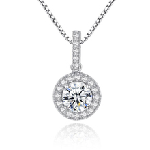 KOFSAC Shining Crystal Zircon Multi-Colour Round Pendant Charm 925 Sterling Silver Necklace For Women Jewelry Anniversary Gifts цена