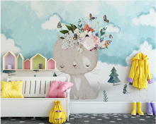 beibehang Custom children room background wall 3d wallpaper cartoon kitten flower butterfly Photo 3d wallpaper mural beibehang wholesale boat jack sparrow mural pirate 3d cartoon mural wallpaper for baby children kids room 3d wall murals fresco