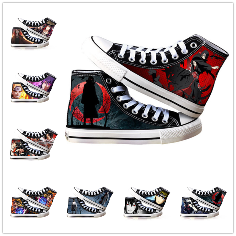 Anime Shoes NARUTO Akatsuki Kakashi Cosplay Adult Students Men Women Spring Summer Casual Breathable High-top Canvas Shoes
