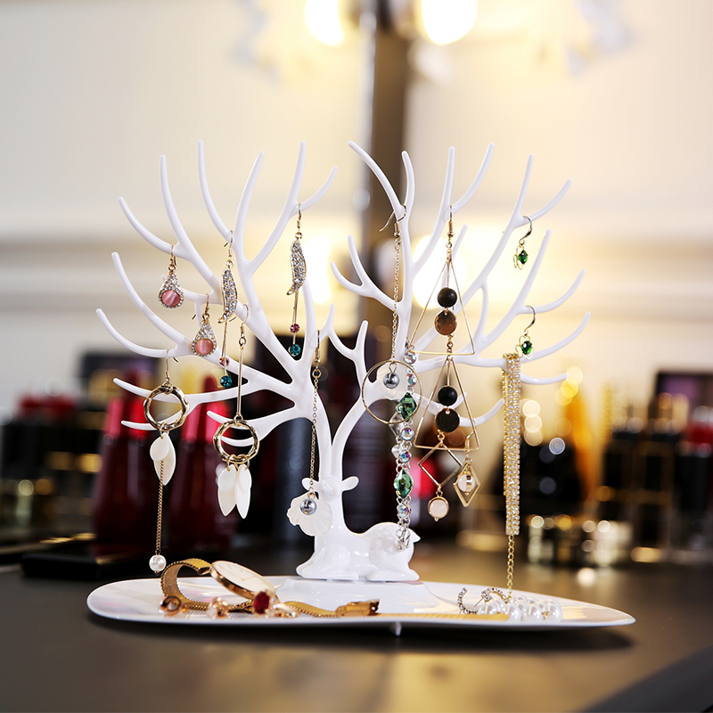 ANFEI Deer Earrings Necklace Ring Pendant Bracelet Jewelry Display Stand Tray Tree Storage Jewelry Organizer Holder