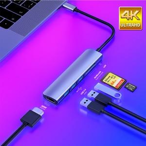 USB 3.1 Tipo-C Hub Para HDMI Adaptador Thunderbolt 4K 3 C Hub com Hub USB 3.0 TF SD Slot Leitor PD para MacBook Pro/Air/Huawei Companheiro