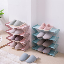 Bedroom living room multi-layer shoe rack storage rack stainless steel non-woven fabric Z-shaped shoe rack debris finishing rack