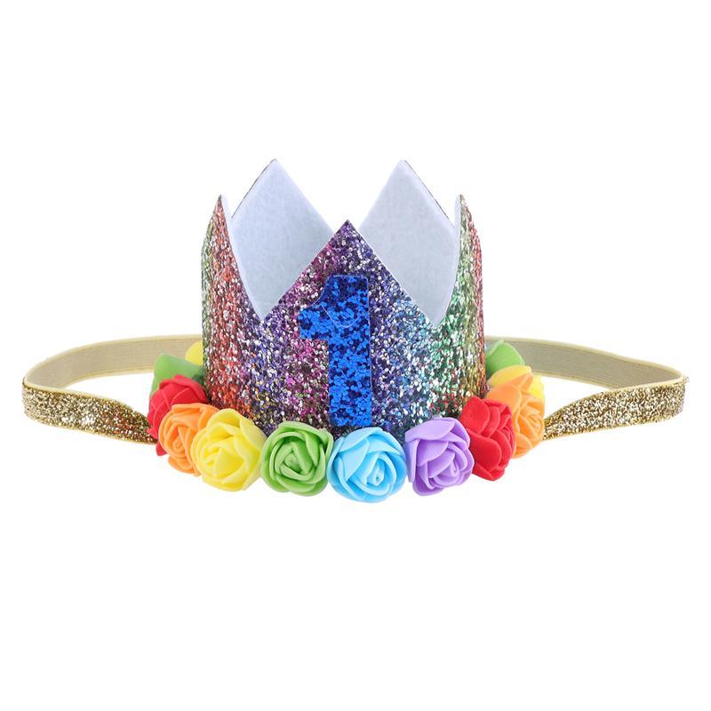 Elastic Crown Hair Band Baby Birthday Hat Party Headdress Floral Headwear