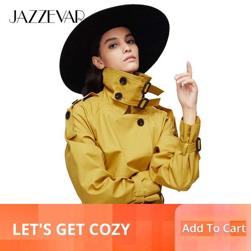 Jazzevar 2019 새로운 도착 가을 탑 트렌치 코트 여성 더블 브레스트 롱 아우터 레이디 고품질 오버 코트 여성 9003-에서트렌치부터 여성 의류 의  그룹 1