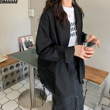 DIMANAF 2020 Plus Size Shirt Women Solid Sashes Show Thin Female Lady Blouse Patchwork Cotton Loose Long Sleeve New Cardigan