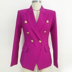 Image 2 - Yüksek sokak 2020 yeni tasarımcı Blazer kadın kruvaze aslan düğmeler Slim fit muhteşem mor Blazer ceket