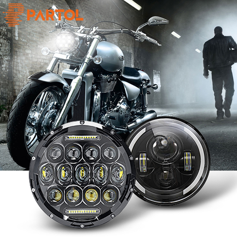 Partol 7inch Motorcycle LED Headlight 60W 75W High Low Beam DRL Daytime Running Light 6000K 12V 24V For Harley FLD Touring Softail