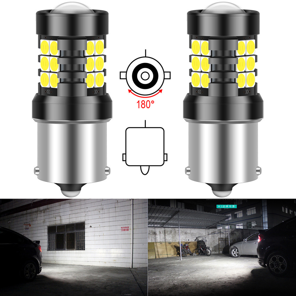 2pcs P21W 1156 BA15S LED Daytime Running Light DRL Lamp LED Bulb 1200LM Canbus No Error For Kia Rio 3 4 2015 2016 2017 2018 2019