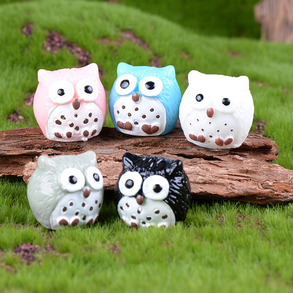 Mix 5 Pcs Owl Figurine Miniatures Home Decoration Kawaii Accessories Desk Garden Decor Graduation Gift