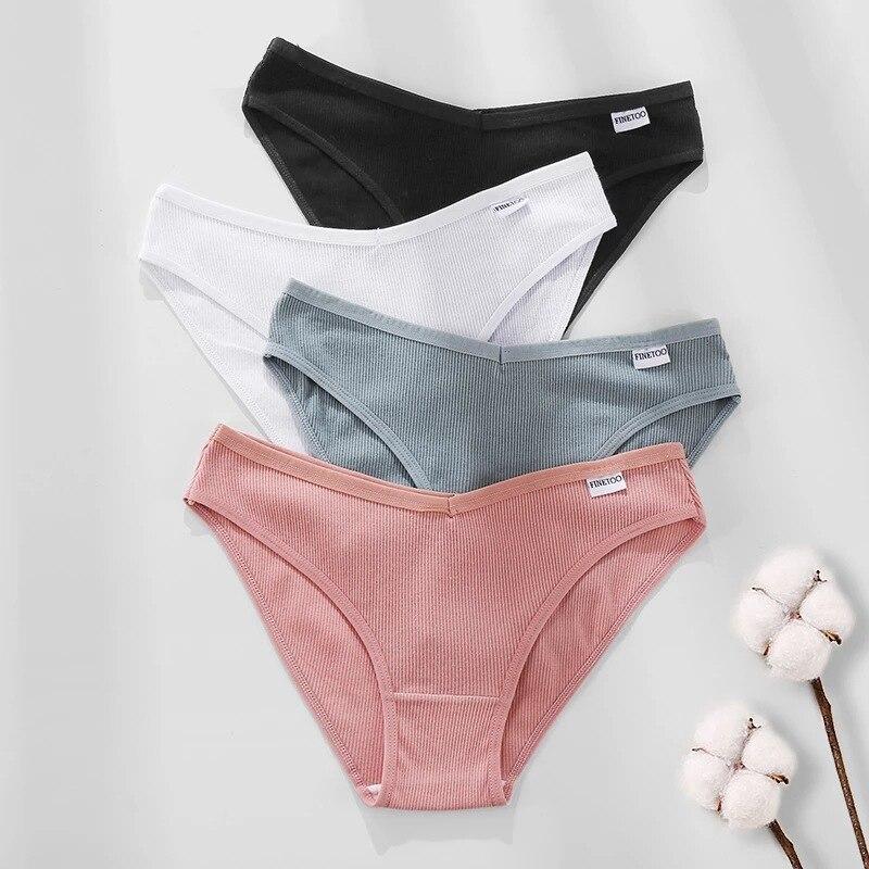 Women's underwear sexy underwear cotton material women's low waist high split women's underwear plus size lingerie 3 PZ / set