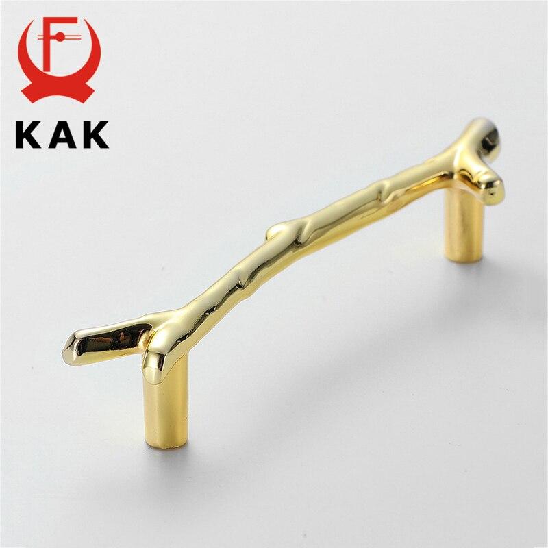Купить с кэшбэком KAK Fashion Tree Branch Furniture Handle 96mm 128mm Black Silver Bronze Kitchen Cabinet Handles Drawer Knobs Door Pulls Hardware