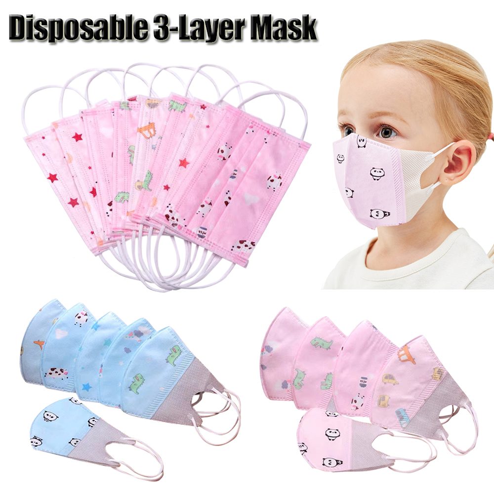Disposable Non-Woven 3 Layer Face Mask For 6-13 Years Old Child Cartoon Print Anti Pollution Respirator Mouth Mask Protection 30