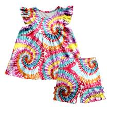 2020 New Children Sets Baby Girls Tie-dye Print Pattern Girls Suits Child Girls 2 Pieces Set tops and Pants Kids Clothes Outfits 2017 new girls sets baby two pieces sets children cotton and linen set kids plaid blouses overalls toddler jeans pants 2 7y