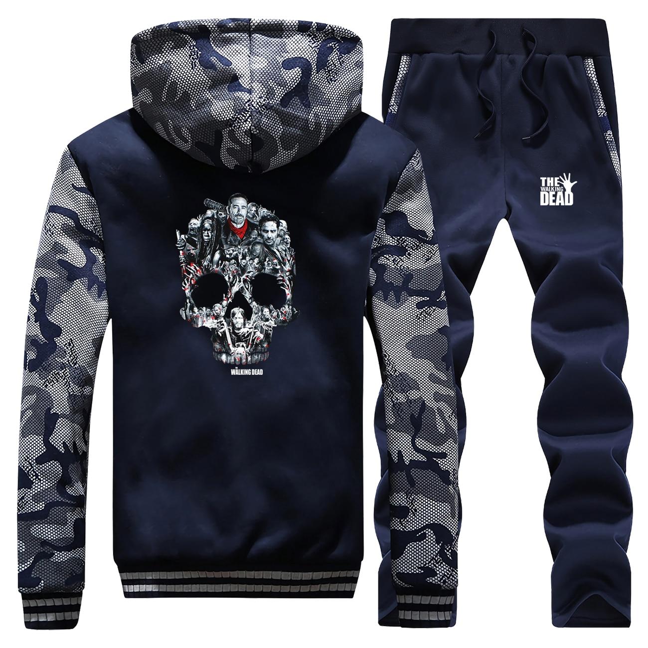 The Walking Dead TV Show Camo Sleeve Jacket Negan Fashion Male Set Rick Skull Casual Men's Full Suit Tracksuit Winter Streetwear