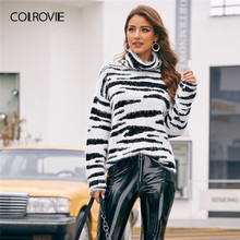 COLROVIE High Neck Fluffy Knit Zebra Pattern Sweater Women 2019 Winter Glamorous Pullovers Long Sleeve High Street Sweaters(China)