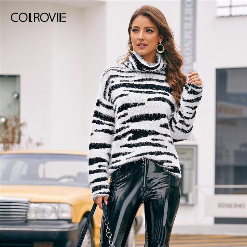 COLROVIE High Neck Fluffy Knit Zebra Pattern Sweater Women 2019 Winter Glamorous Pullovers Long Sleeve High Street Sweaters
