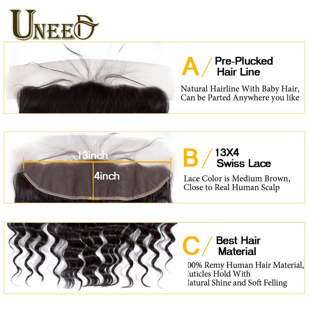 Uneed Hair Brazilian Loose Deep Wave Bundles With Frontal Closure 100% Remy Human Hair Weave 3 or 4 Bundles With Frontal Closure