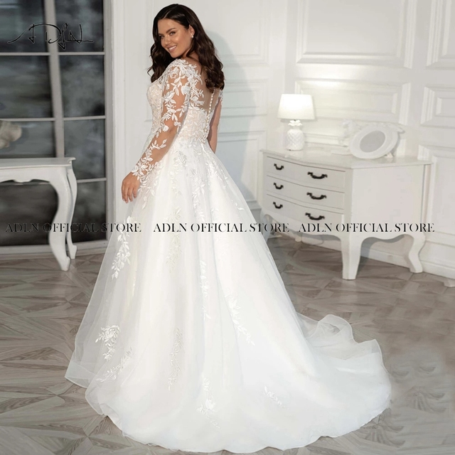 2021 New Plus Size Wedding Gown Long Sleeves Wedding Dress Customized Sweep Train A-line Tulle Lace Bridal Gown Vestido de Novia 5
