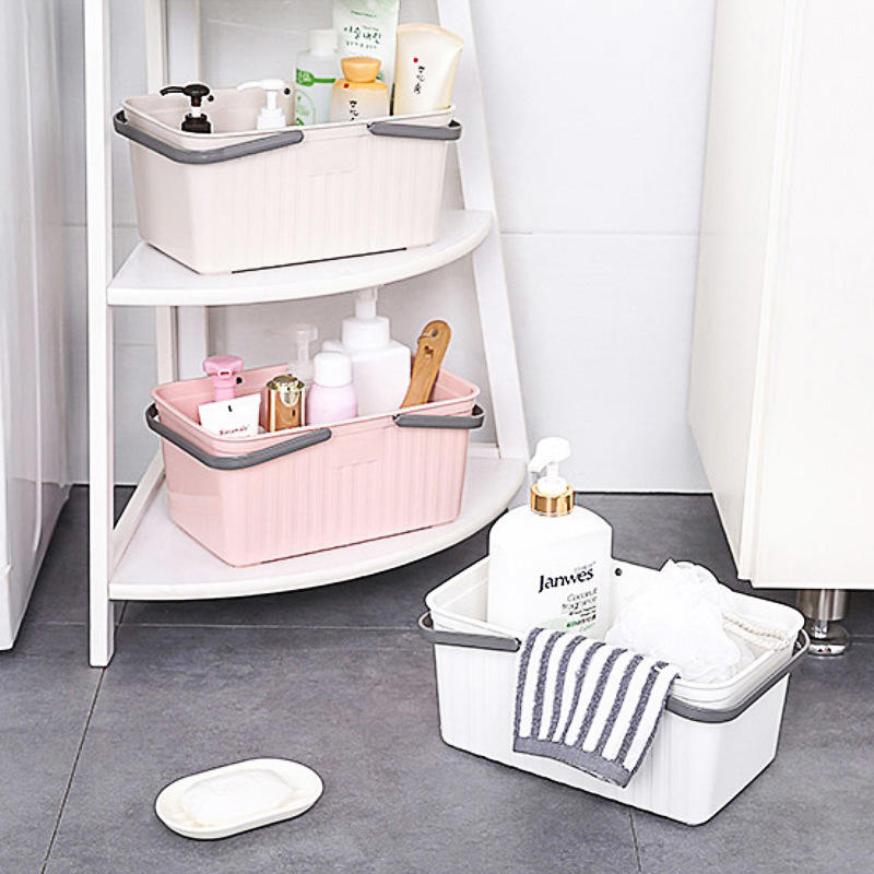 Plastic Portable Bath Baskets Toiletrie Desktop Storage Basket Shampoo Shower Gel Organizer Drain Bag Home Storage Organization