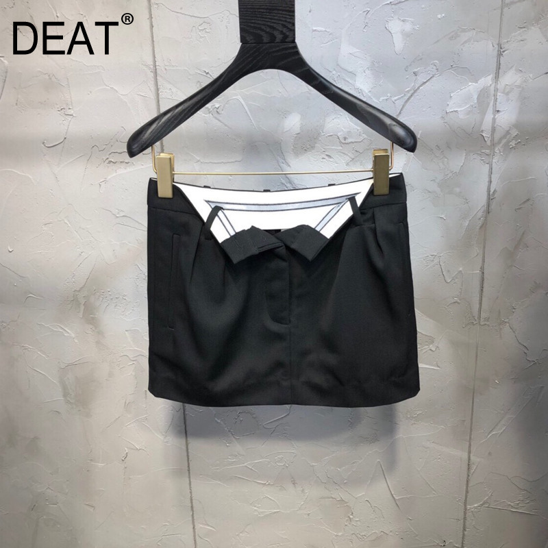 DEAT 2020 New Spring And Summer Fashion Women High Waist Mini Length Ribbons Sexy Hips Skirt WK76201L